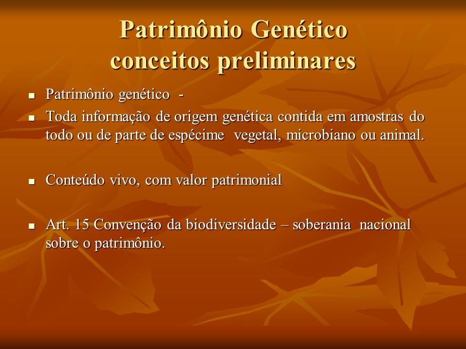 Patrimônio Genético conceitos preliminares Patrimônio genético - Patrimônio genético - Toda informação de origem genética contida em amostras do todo
