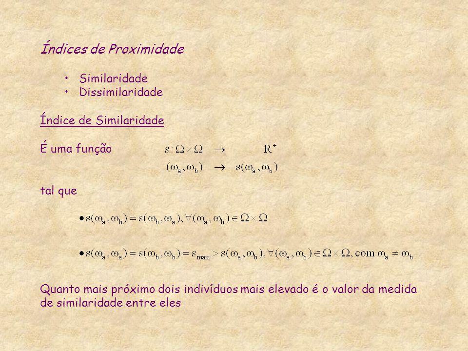 Índices de Proximidade Similaridade Dissimilaridade Índice de Similaridade É uma função tal que Quanto mais próximo dois indivíduos mais elevado é o v