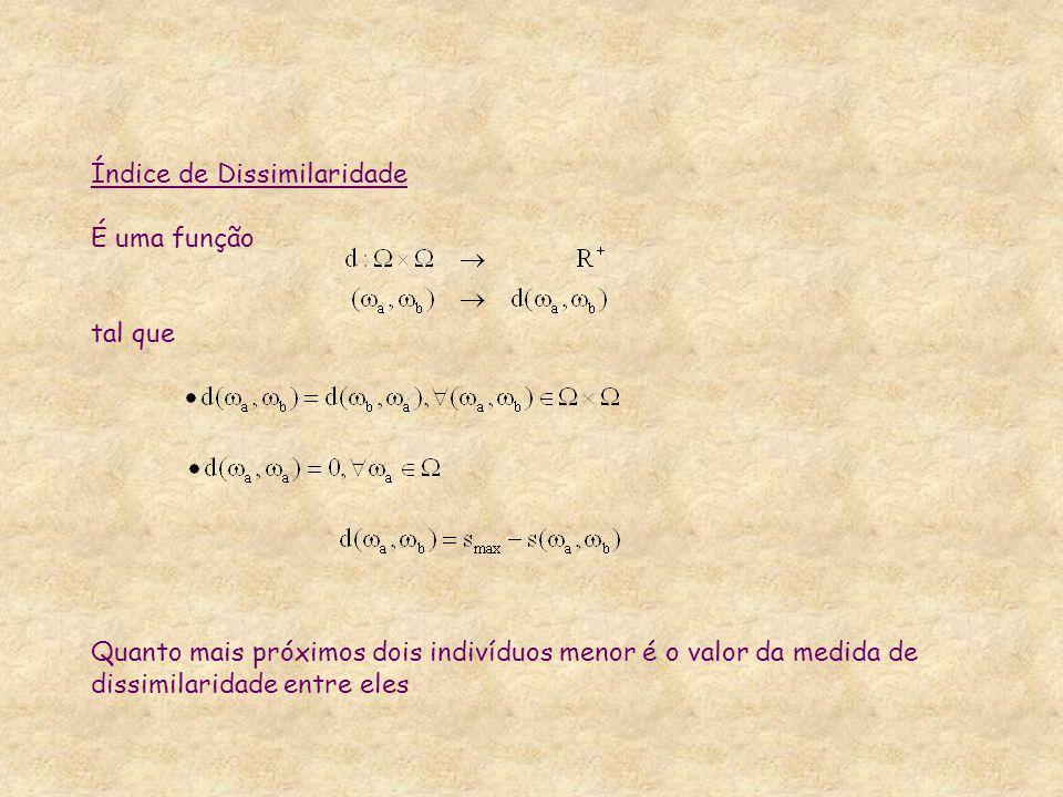 Índice de Dissimilaridade É uma função tal que Quanto mais próximos dois indivíduos menor é o valor da medida de dissimilaridade entre eles