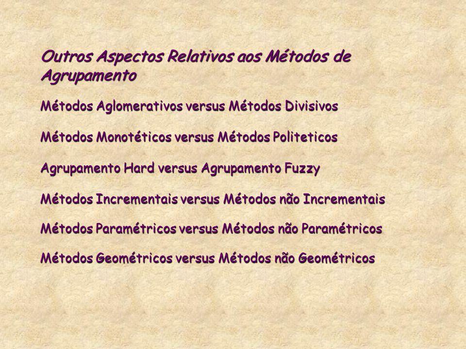 Outros Aspectos Relativos aos Métodos de Agrupamento Métodos Aglomerativos versus Métodos Divisivos Métodos Monotéticos versus Métodos Politeticos Agr