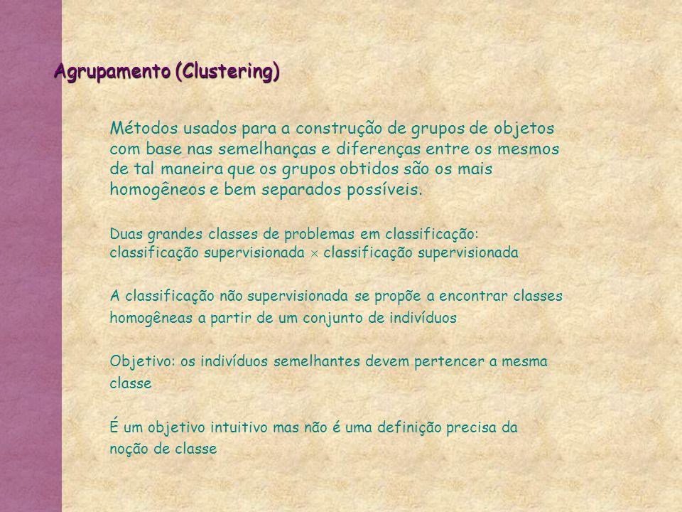 Agrupamento (Clustering) Métodos usados para a construção de grupos de objetos com base nas semelhanças e diferenças entre os mesmos de tal maneira qu