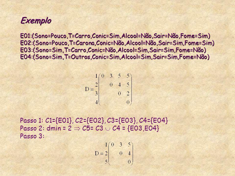 Exemplo E01:(Sono=Pouco,T=Carro,Conic=Sim,Alcool=Não,Sair=Não,Fome=Sim) E02:(Sono=Pouco,T=Carona,Conic=Não,Alcool=Não,Sair=Sim,Fome=Sim) E03:(Sono=Sim
