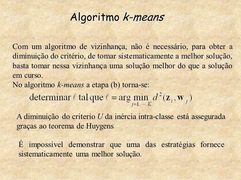 Algoritmo k-means Com um algoritmo de vizinhança, não é necessário, para obter a diminuição do critério, de tomar sistematicamente a melhor solução, b