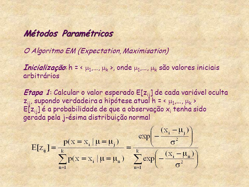 Métodos Paramétricos Métodos Paramétricos O Algoritmo EM (Expectation, Maximisation) Inicialização: h =, onde  1,…,  k são valores iniciais arbitrár