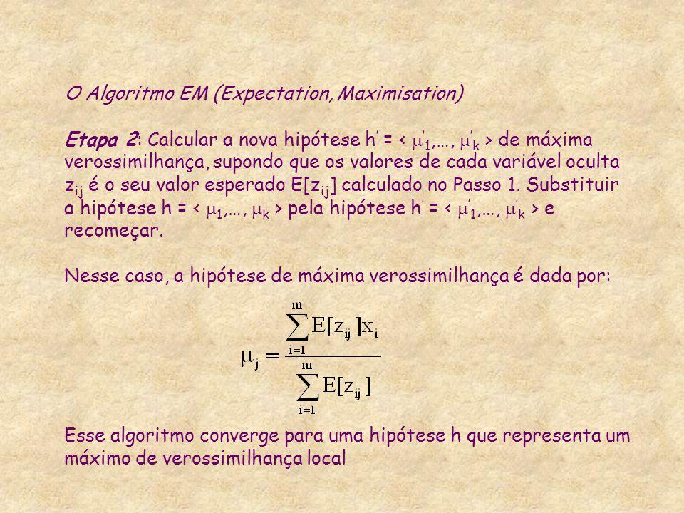 O Algoritmo EM (Expectation, Maximisation) Etapa 2: Calcular a nova hipótese h ' = de máxima verossimilhança, supondo que os valores de cada variável