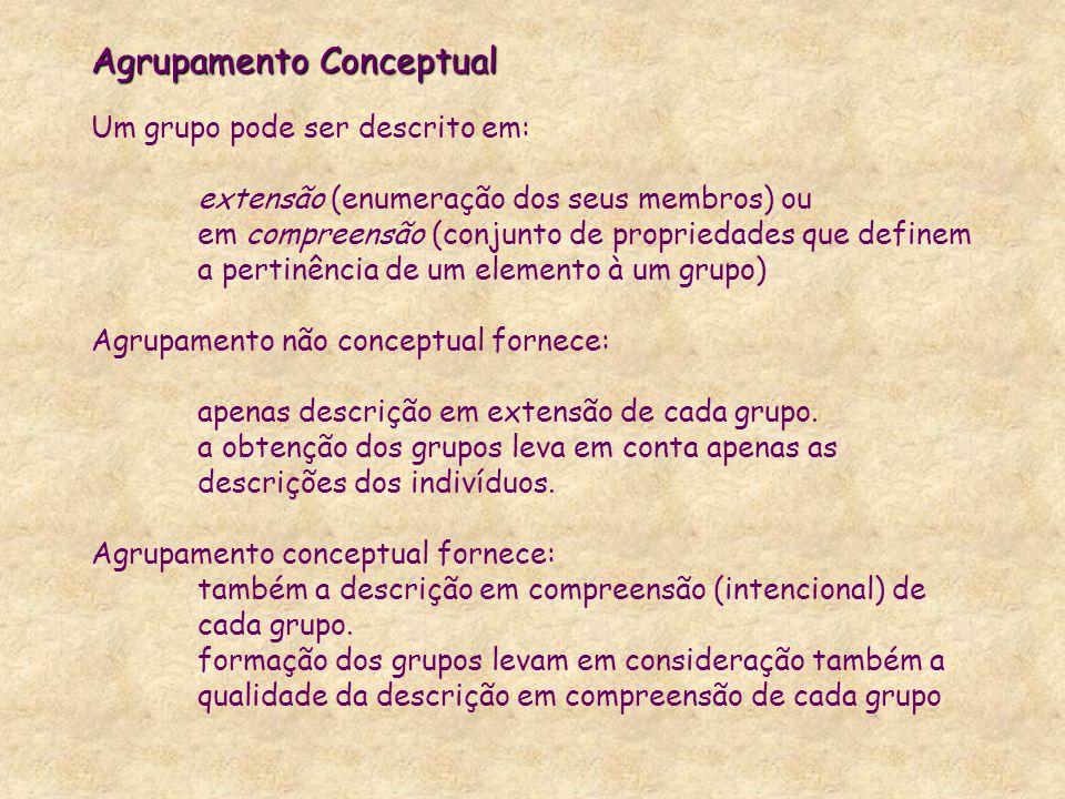 Agrupamento Conceptual Agrupamento Conceptual Um grupo pode ser descrito em: extensão (enumeração dos seus membros) ou em compreensão (conjunto de pro