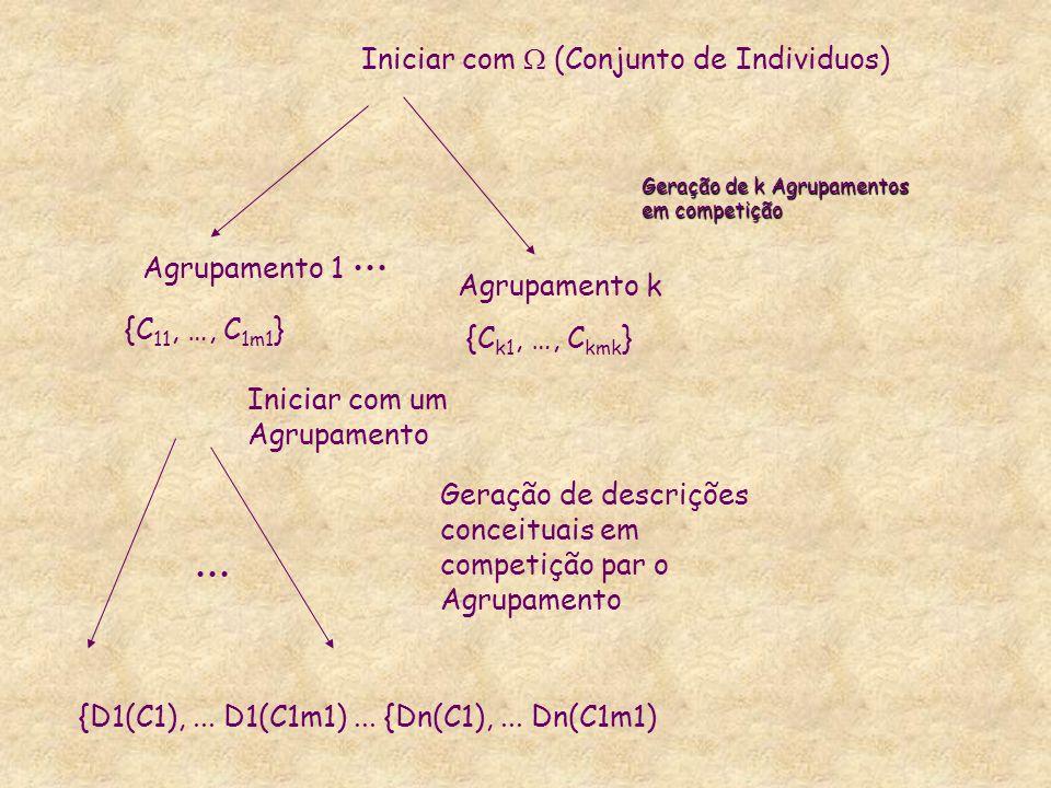 Geração de k Agrupamentos em competição Iniciar com  (Conjunto de Individuos) Agrupamento 1 Agrupamento k {C 11, …, C 1m1 } {C k1, …, C kmk } Iniciar