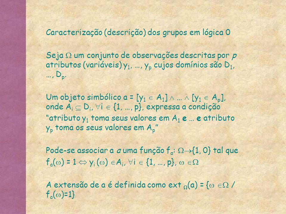 Caracterização (descrição) dos grupos em lógica 0 Seja  um conjunto de observações descritas por p atributos (variáveis) y 1, …, y p cujos domínios s