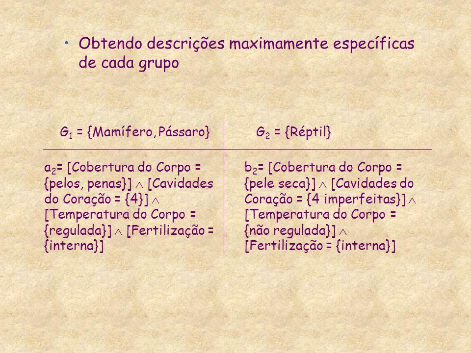 Obtendo descrições maximamente específicas de cada grupo a 2 = [Cobertura do Corpo = {pelos, penas}]  [Cavidades do Coração = {4}]  [Temperatura do