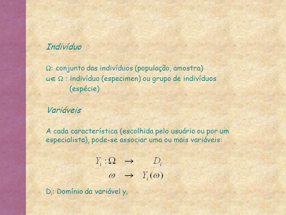 As variáveis podem ser quantitativas contínuas (ex, Peso, Altura) discretas (ex, numero de antenas, número de filhos) qualitativas (ex, sexo, grau de instrução) binárias (ex, presença de asas) com escala nominal (ex, sexo (masculino, feminino)), ordinal (ex, Grau de instrução{primário, segundário, superior}) intervalar (ex, grau celsius) proporcional (ex, grau kelvin, idade)