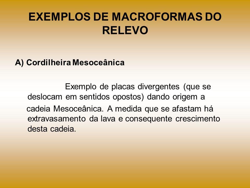 EXEMPLOS DE MACROFORMAS DO RELEVO A) Cordilheira Mesoceânica Exemplo de placas divergentes (que se deslocam em sentidos opostos) dando origem a cadeia