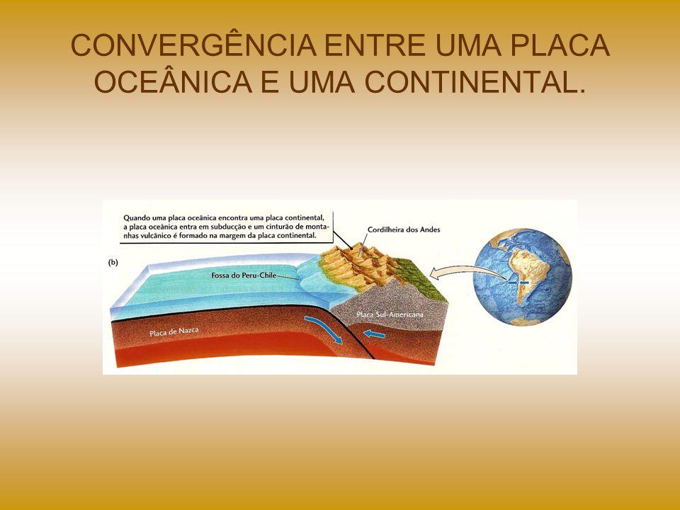 CONVERGÊNCIA ENTRE UMA PLACA OCEÂNICA E UMA CONTINENTAL.