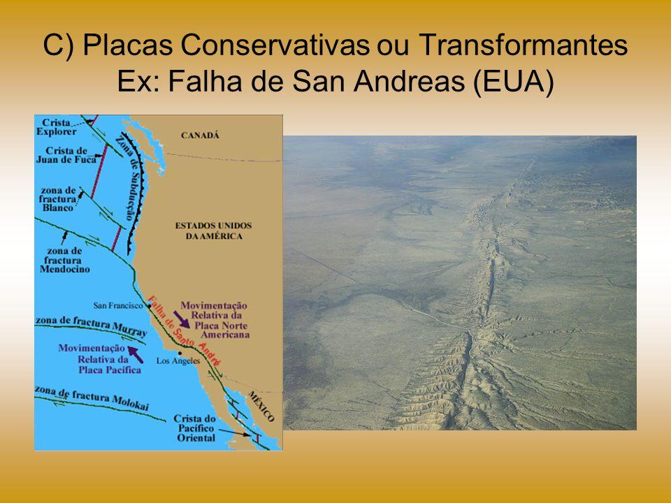 C) Placas Conservativas ou Transformantes Ex: Falha de San Andreas (EUA)