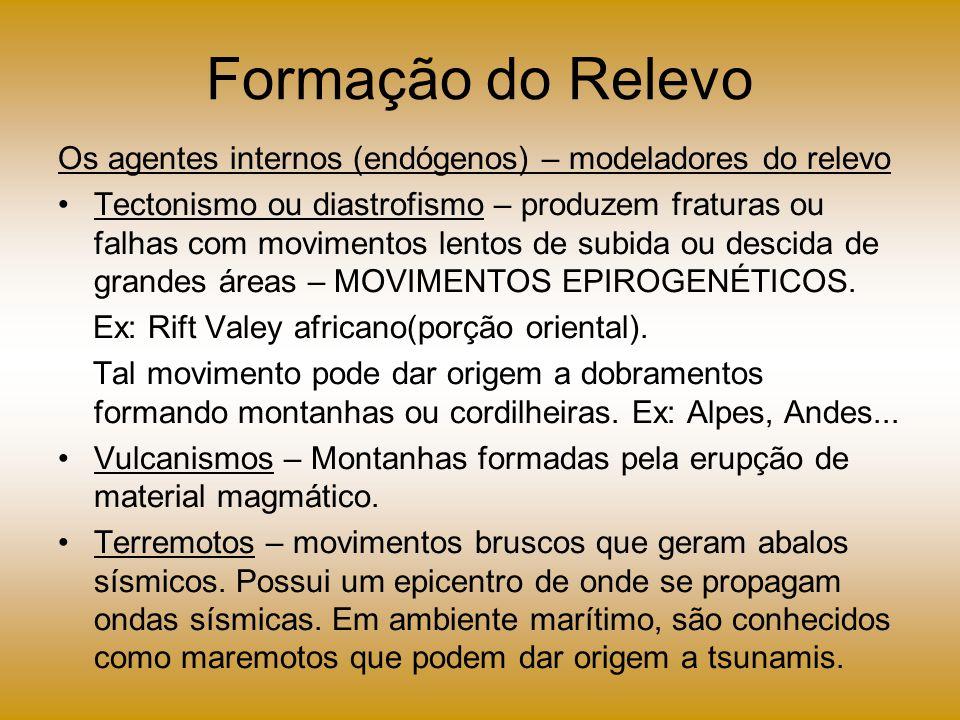 Formação do Relevo Os agentes internos (endógenos) – modeladores do relevo Tectonismo ou diastrofismo – produzem fraturas ou falhas com movimentos len