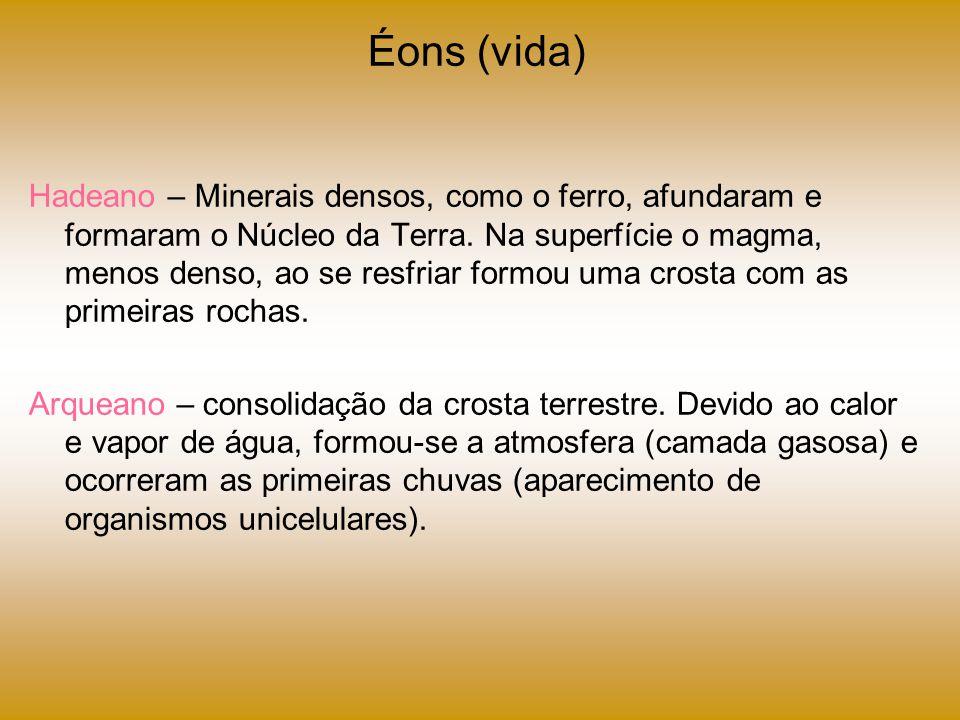 Éons (vida) Hadeano – Minerais densos, como o ferro, afundaram e formaram o Núcleo da Terra. Na superfície o magma, menos denso, ao se resfriar formou