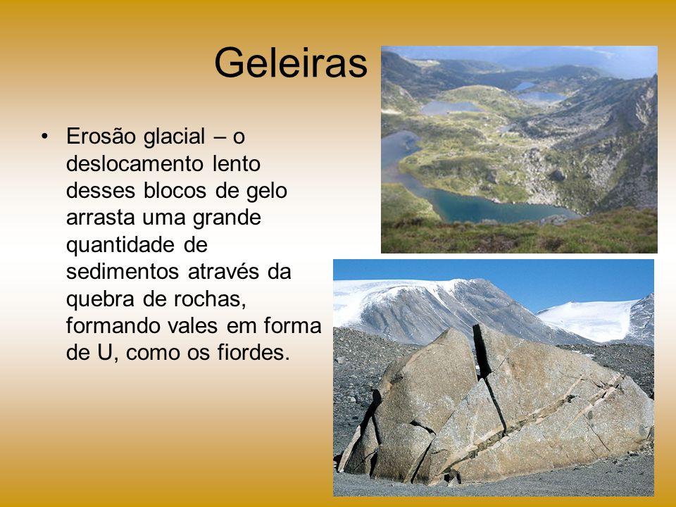 Geleiras Erosão glacial – o deslocamento lento desses blocos de gelo arrasta uma grande quantidade de sedimentos através da quebra de rochas, formando