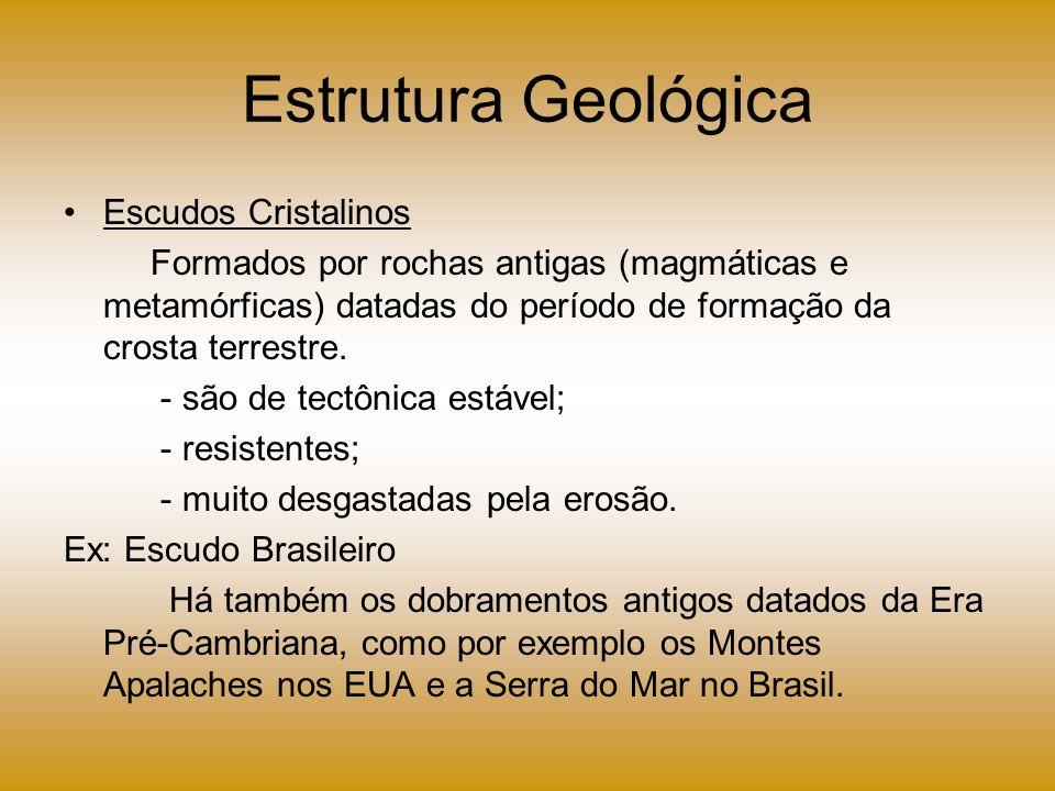 Estrutura Geológica Escudos Cristalinos Formados por rochas antigas (magmáticas e metamórficas) datadas do período de formação da crosta terrestre. -