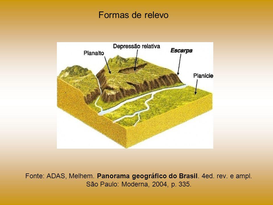 Fonte: ADAS, Melhem. Panorama geográfico do Brasil. 4ed. rev. e ampl. São Paulo: Moderna, 2004, p. 335. Formas de relevo