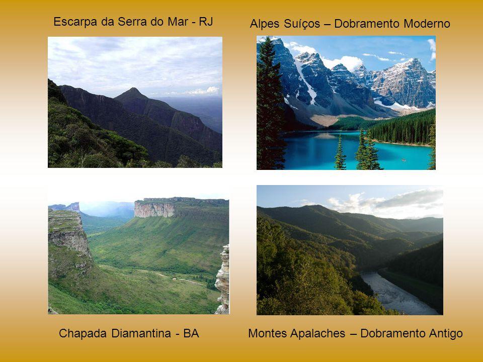 Escarpa da Serra do Mar - RJ Chapada Diamantina - BA Alpes Suíços – Dobramento Moderno Montes Apalaches – Dobramento Antigo