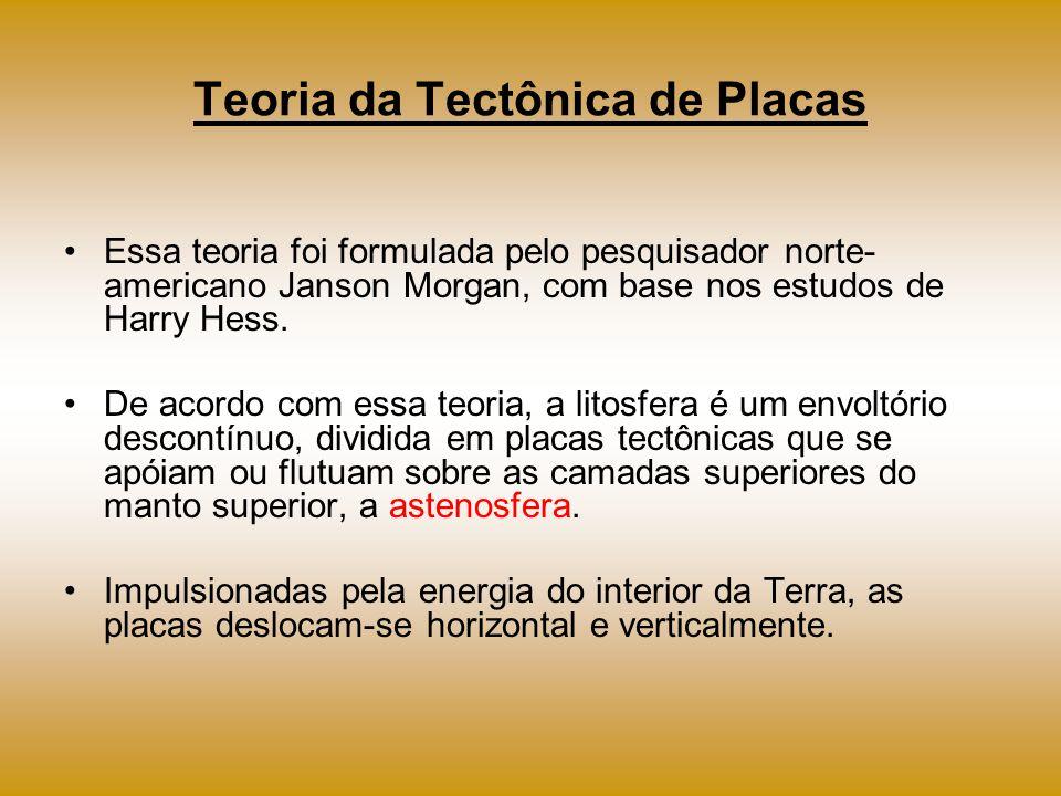 Teoria da Tectônica de Placas Essa teoria foi formulada pelo pesquisador norte- americano Janson Morgan, com base nos estudos de Harry Hess. De acordo