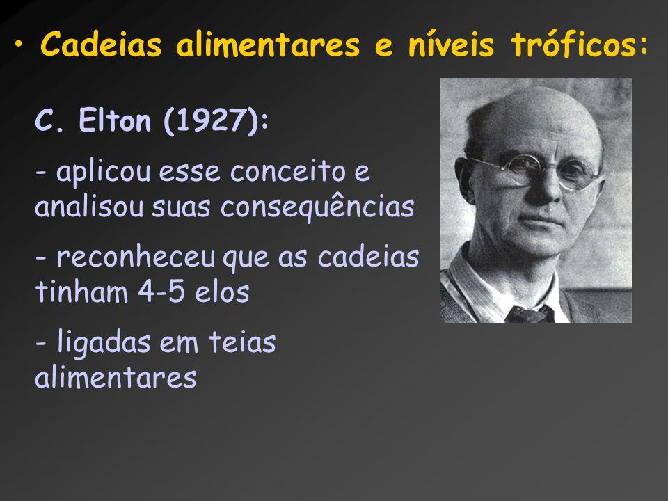 C. Elton (1927): - aplicou esse conceito e analisou suas consequências - reconheceu que as cadeias tinham 4-5 elos - ligadas em teias alimentares Cade