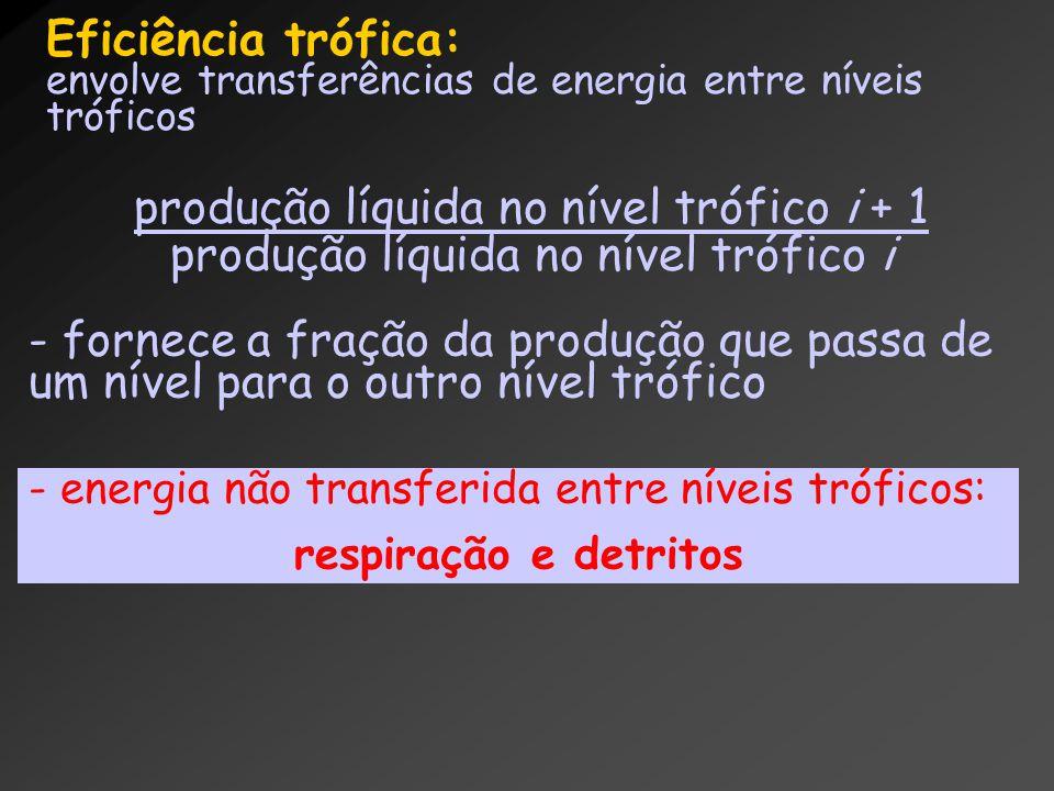 Eficiência trófica: envolve transferências de energia entre níveis tróficos produção líquida no nível trófico i + 1 produção líquida no nível trófico