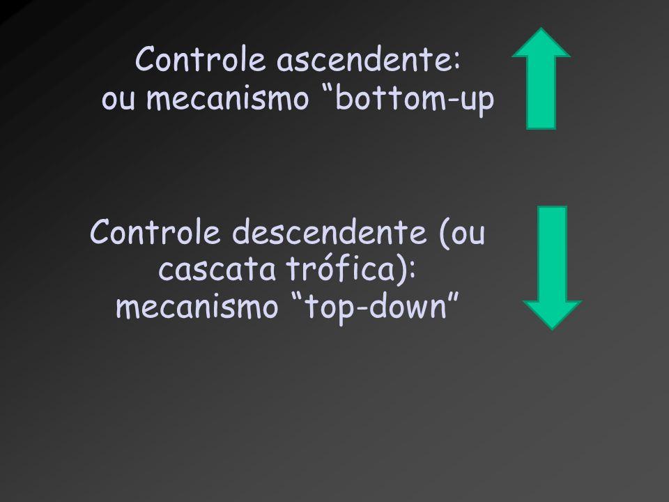 "Controle ascendente: ou mecanismo ""bottom-up Controle descendente (ou cascata trófica): mecanismo ""top-down"""