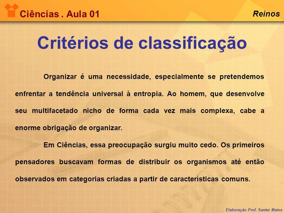 Elaboração Prof. Santer Matos Ciências. Aula 01 Reinos Critérios de classificação Organizar é uma necessidade, especialmente se pretendemos enfrentar