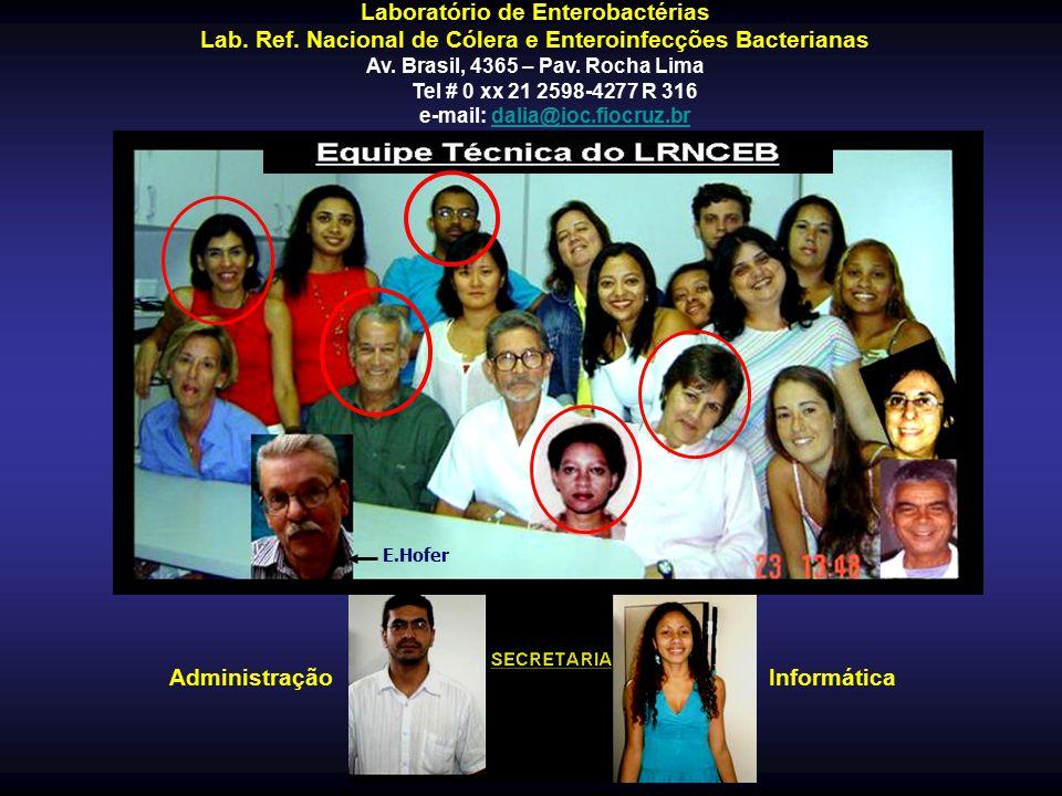 AdministraçãoInformática Laboratório de Enterobactérias Lab. Ref. Nacional de Cólera e Enteroinfecções Bacterianas Av. Brasil, 4365 – Pav. Rocha Lima