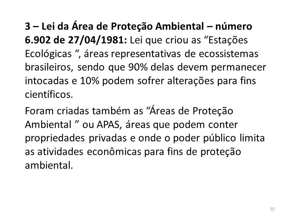 """3 – Lei da Área de Proteção Ambiental – número 6.902 de 27/04/1981: Lei que criou as """"Estações Ecológicas """", áreas representativas de ecossistemas bra"""
