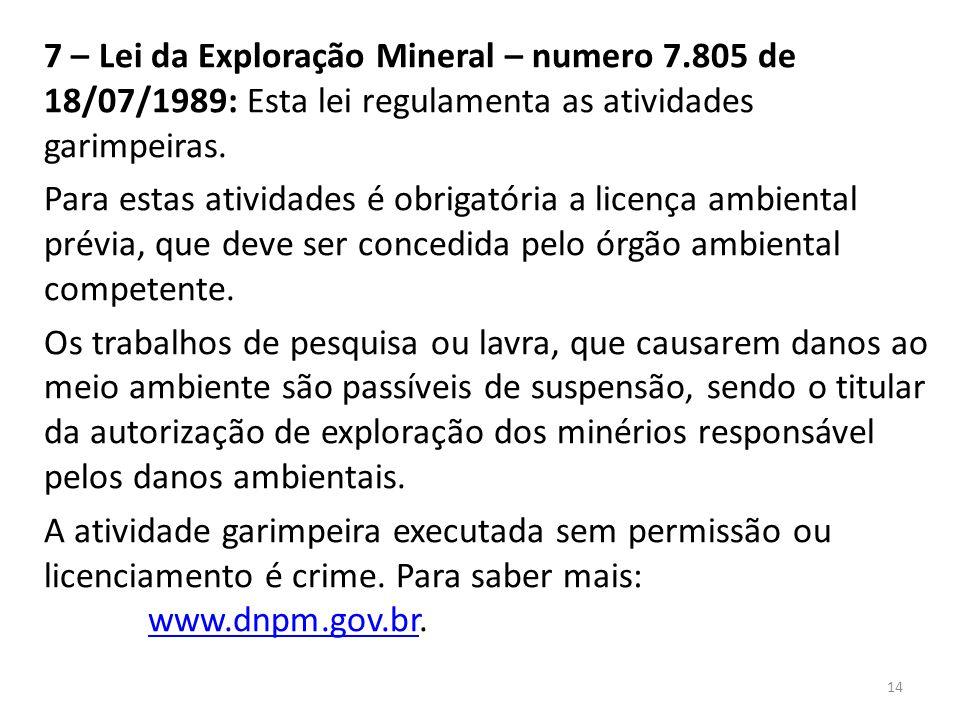 7 – Lei da Exploração Mineral – numero 7.805 de 18/07/1989: Esta lei regulamenta as atividades garimpeiras. Para estas atividades é obrigatória a lice