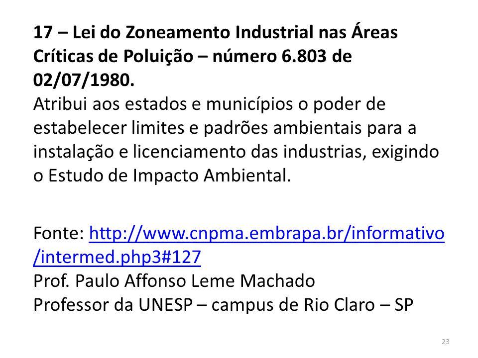 17 – Lei do Zoneamento Industrial nas Áreas Críticas de Poluição – número 6.803 de 02/07/1980. Atribui aos estados e municípios o poder de estabelecer