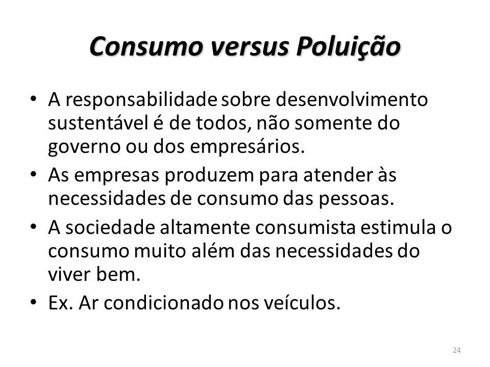 Consumo versus Poluição A responsabilidade sobre desenvolvimento sustentável é de todos, não somente do governo ou dos empresários. As empresas produz