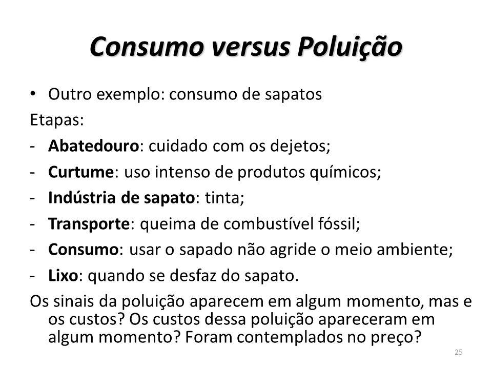 Consumo versus Poluição Outro exemplo: consumo de sapatos Etapas: -Abatedouro: cuidado com os dejetos; -Curtume: uso intenso de produtos químicos; -In