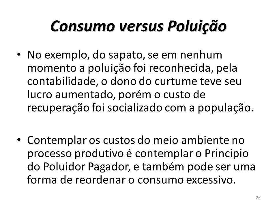Consumo versus Poluição No exemplo, do sapato, se em nenhum momento a poluição foi reconhecida, pela contabilidade, o dono do curtume teve seu lucro a