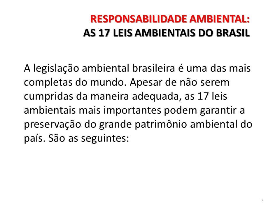A legislação ambiental brasileira é uma das mais completas do mundo. Apesar de não serem cumpridas da maneira adequada, as 17 leis ambientais mais imp