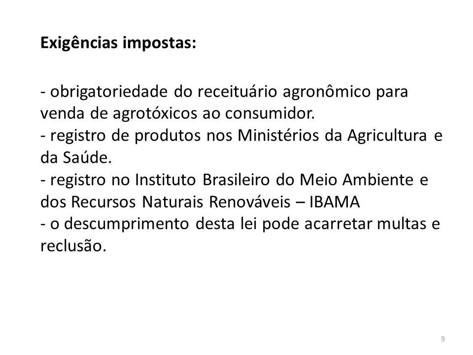 Exigências impostas: - obrigatoriedade do receituário agronômico para venda de agrotóxicos ao consumidor. - registro de produtos nos Ministérios da Ag