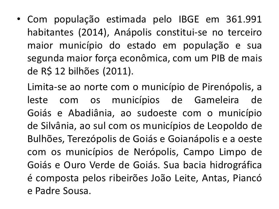 Com população estimada pelo IBGE em 361.991 habitantes (2014), Anápolis constitui-se no terceiro maior município do estado em população e sua segunda