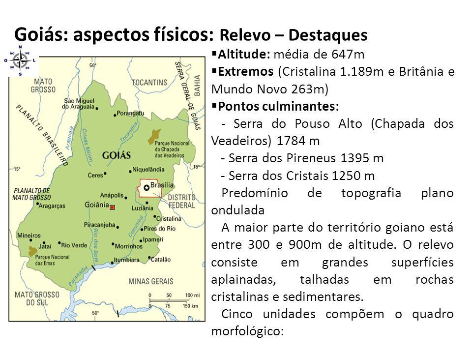 Goiás: aspectos físicos: Relevo – Destaques  Altitude: média de 647m  Extremos (Cristalina 1.189m e Britânia e Mundo Novo 263m)  Pontos culminantes