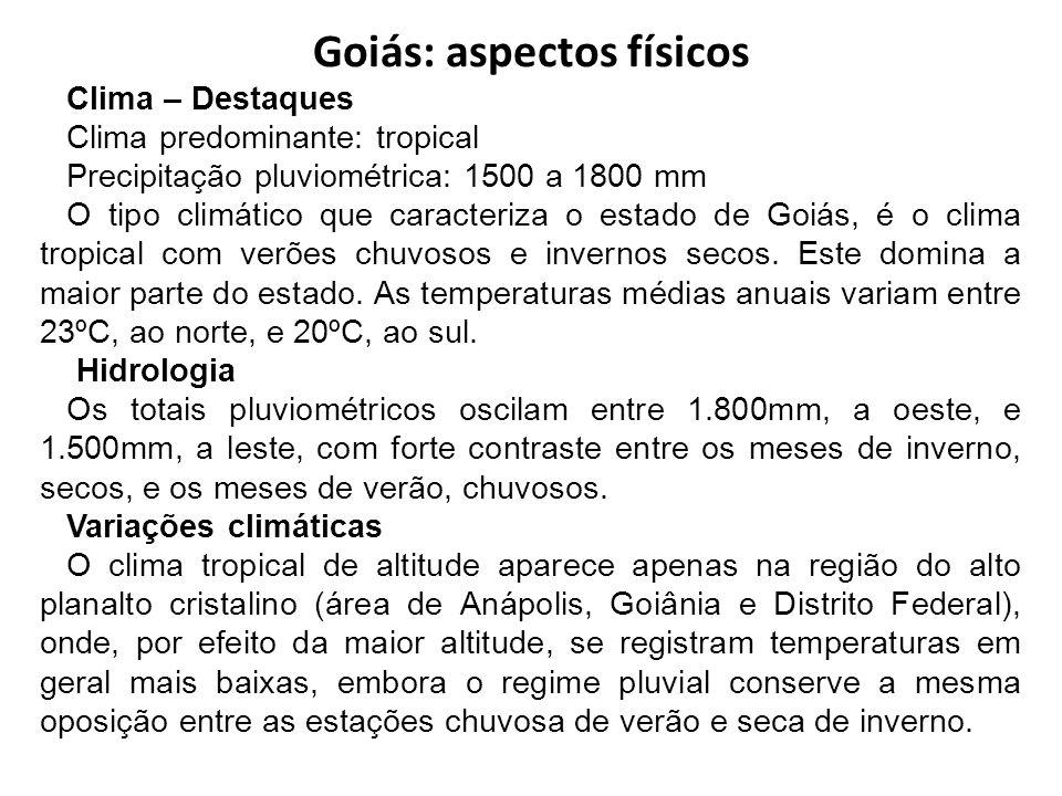 Goiás: aspectos físicos Clima – Destaques Clima predominante: tropical Precipitação pluviométrica: 1500 a 1800 mm O tipo climático que caracteriza o e