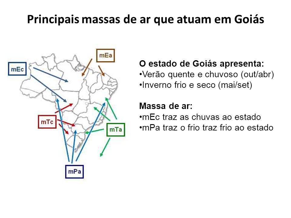 Principais massas de ar que atuam em Goiás O estado de Goiás apresenta: Verão quente e chuvoso (out/abr) Inverno frio e seco (mai/set) Massa de ar: mE