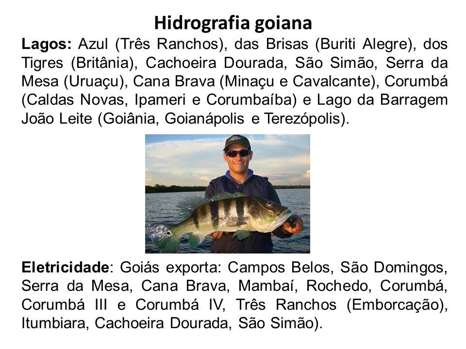 Hidrografia goiana Lagos: Azul (Três Ranchos), das Brisas (Buriti Alegre), dos Tigres (Britânia), Cachoeira Dourada, São Simão, Serra da Mesa (Uruaçu)