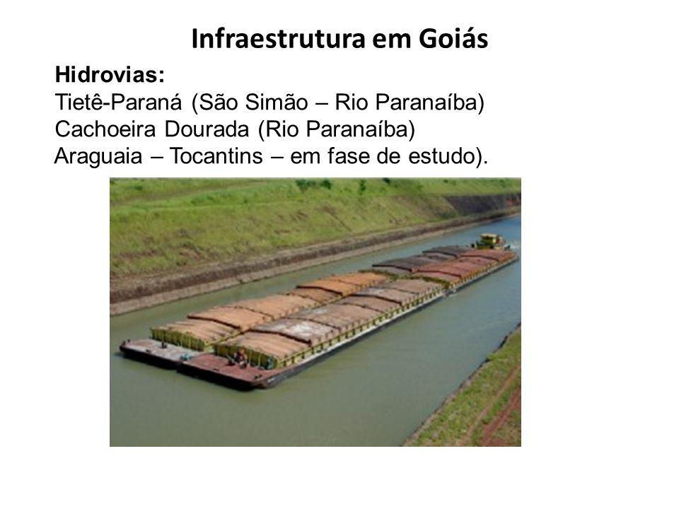 Infraestrutura em Goiás Hidrovias: Tietê-Paraná (São Simão – Rio Paranaíba) Cachoeira Dourada (Rio Paranaíba) Araguaia – Tocantins – em fase de estudo