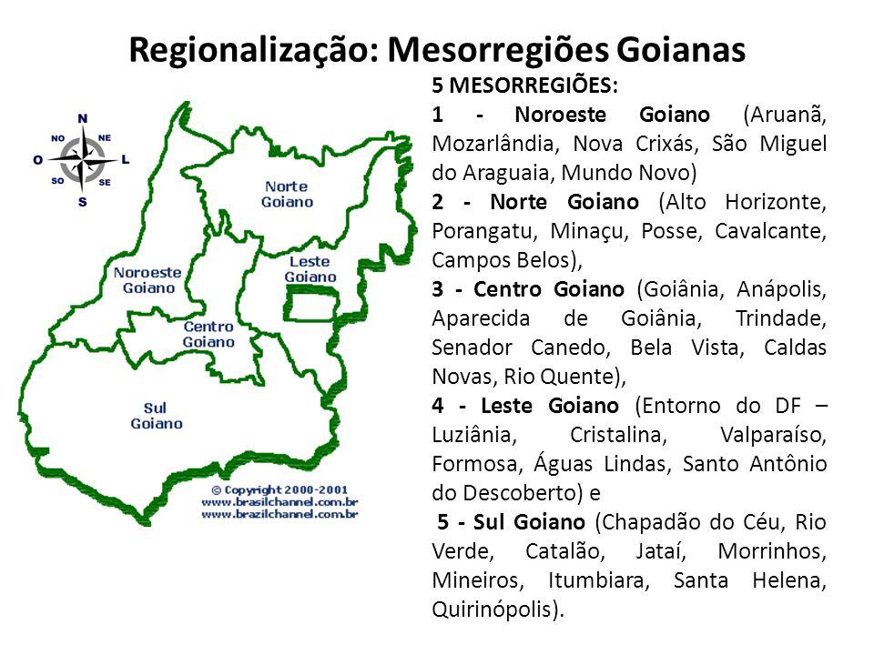 Regionalização: Mesorregiões Goianas 5 MESORREGIÕES: 1 - Noroeste Goiano (Aruanã, Mozarlândia, Nova Crixás, São Miguel do Araguaia, Mundo Novo) 2 - No