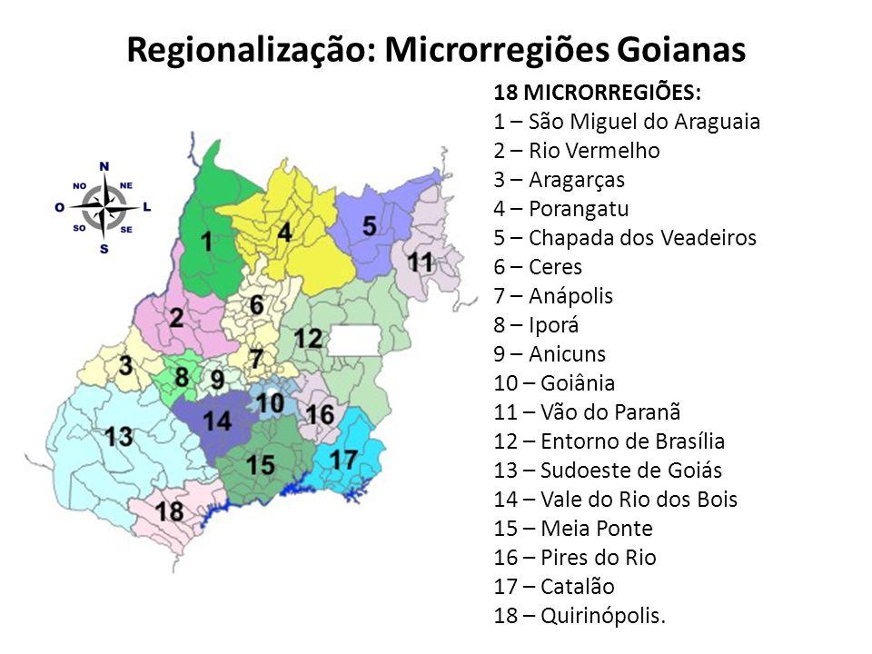 Regionalização: Microrregiões Goianas 18 MICRORREGIÕES: 1 – São Miguel do Araguaia 2 – Rio Vermelho 3 – Aragarças 4 – Porangatu 5 – Chapada dos Veadei