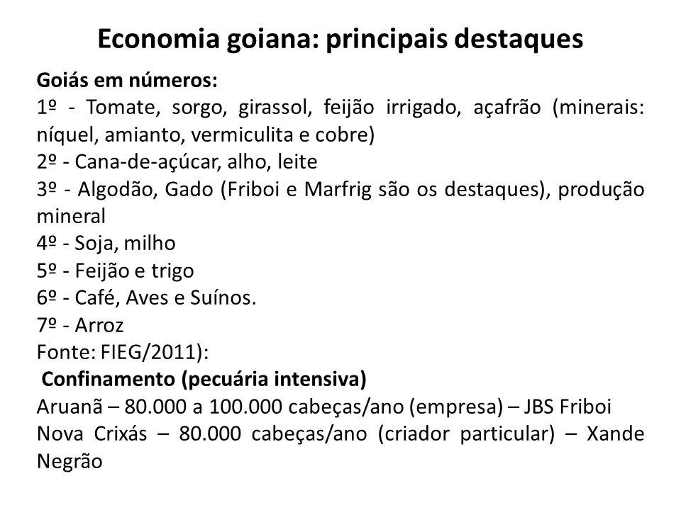 Economia goiana: principais destaques Goiás em números: 1º - Tomate, sorgo, girassol, feijão irrigado, açafrão (minerais: níquel, amianto, vermiculita