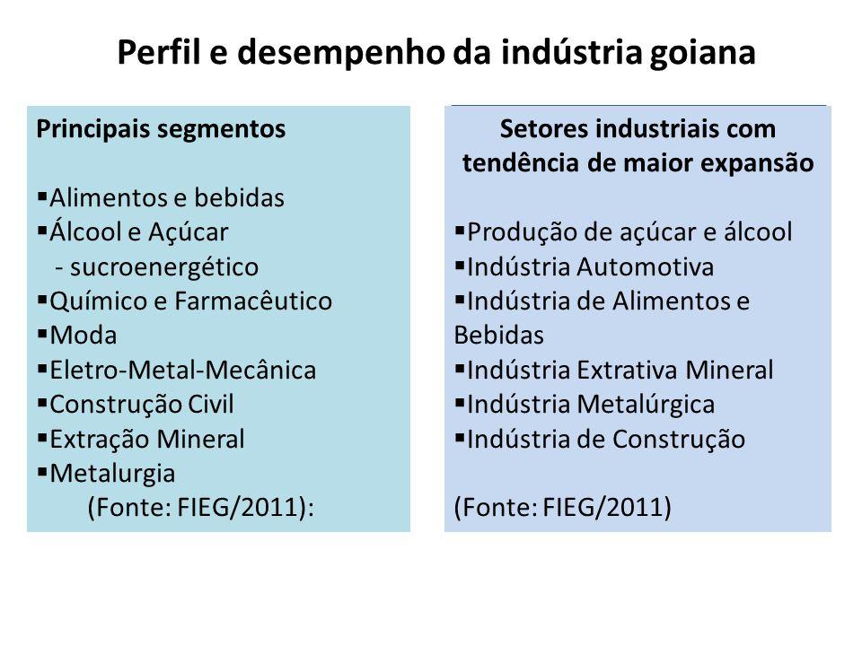Perfil e desempenho da indústria goiana Principais segmentos  Alimentos e bebidas  Álcool e Açúcar - sucroenergético  Químico e Farmacêutico  Moda