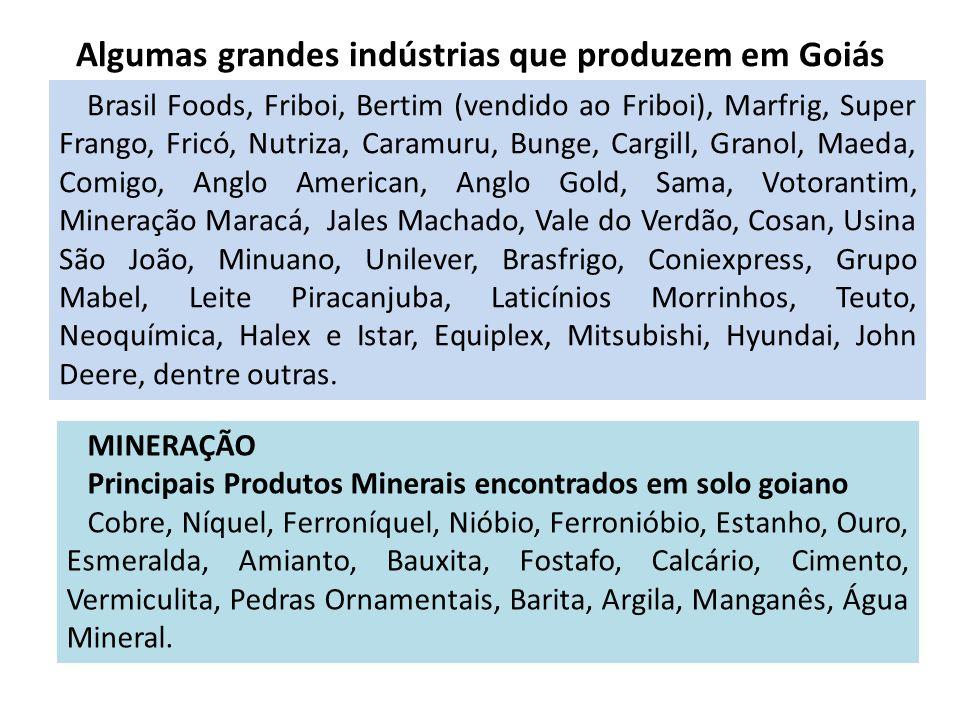 Algumas grandes indústrias que produzem em Goiás Brasil Foods, Friboi, Bertim (vendido ao Friboi), Marfrig, Super Frango, Fricó, Nutriza, Caramuru, Bu