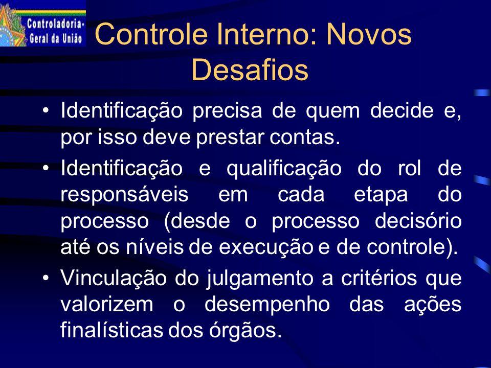 Controle Interno: Novos Desafios Identificação precisa de quem decide e, por isso deve prestar contas.