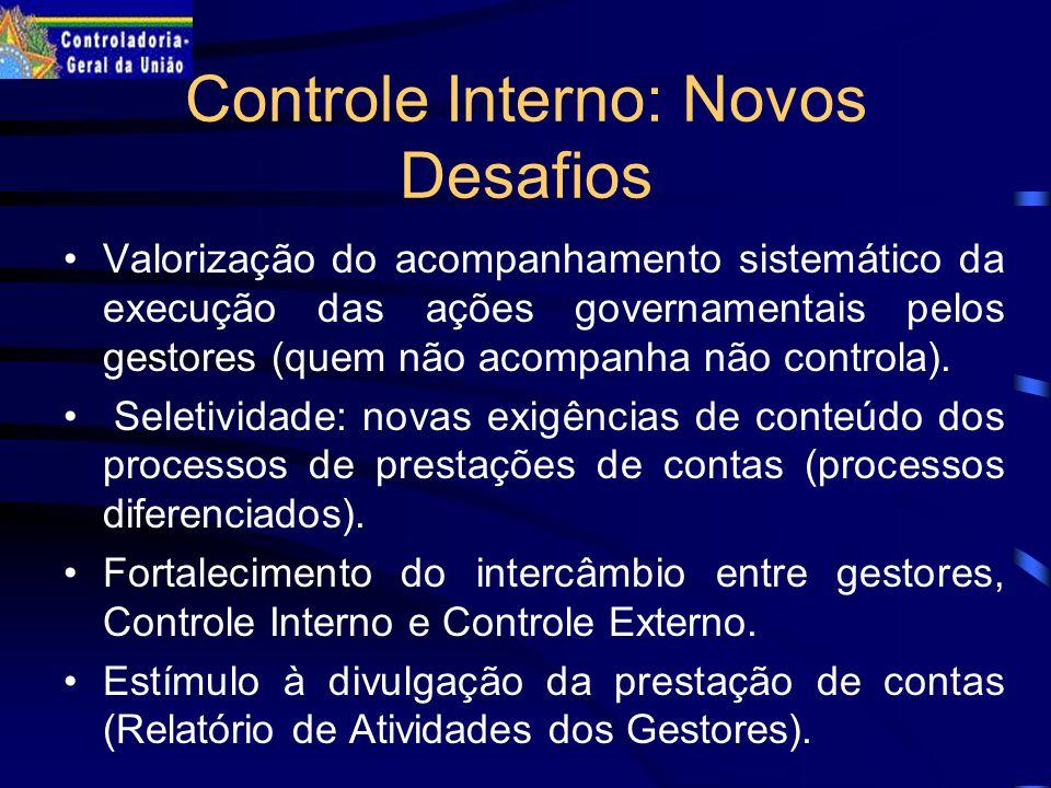 Controle Interno: Novos Desafios Valorização do acompanhamento sistemático da execução das ações governamentais pelos gestores (quem não acompanha não controla).